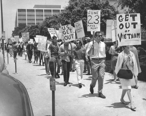 Vietnam war protesters gather outside Parker Center, Los Angeles