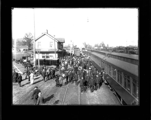 Crowd at Willits train station