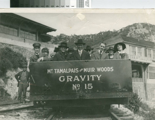 Mount Tamalpais and Muir Woods Railway Gravity Car No. 15 leaving summit the tavern on the way down the mountain