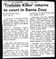 Trailside Killer' returns to court in Santa Cruz
