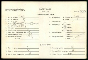 WPA Low income housing area survey data card 62, serial 14754