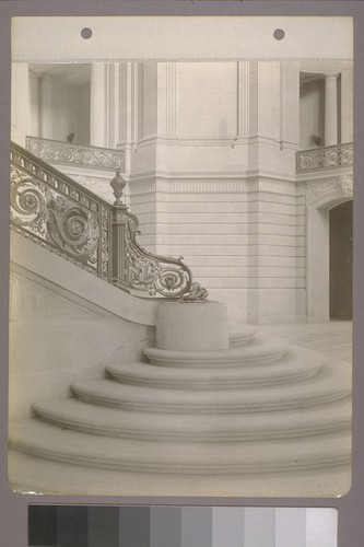 [Railing and lower steps, grand staircase, rotunda.]
