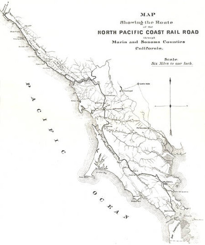 Pacific Coast Map Calisphere: Map of the North Pacific Coast Railroad, a narrow  Pacific Coast Map