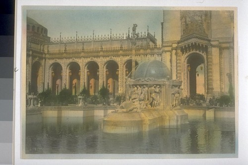 """The Fountain of the Earth"" (Robert I. Aitken, sculptor). In Court of Abundance, or Court of the Ages (Louis Christian Mullgardt, architect). Hand-colored. 7139?"