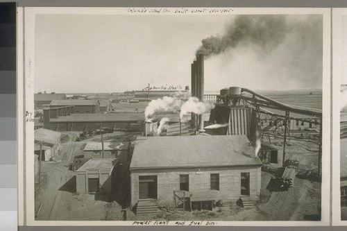 Power plant and fuel bin. Dry kilns. Hay warehouse. Horse barn. Columbia Steel Co. Columbia Steel Co. built about 1912-1915