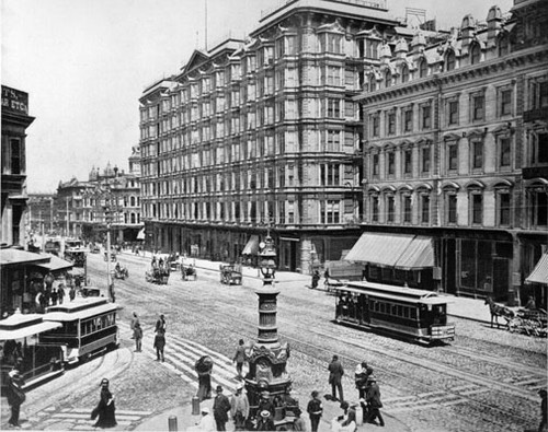 [Market Street at intersection of Kearny and Geary streets, with Lotta's Fountain in foreground]