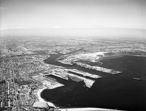 Los Angeles Harbor and Terminal Island, looking northeast