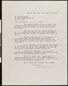 C.T. Mixer, letter, 1924-03-15, to Hamlin Garland
