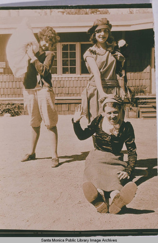 Young women playing in front of the dining hall at the Institute Camp in Temescal Canyon, Calif