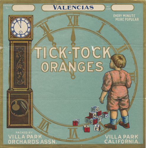 Villa Park California Tick-Tock #1 Clock Orange Citrus Fruit Crate Label Print