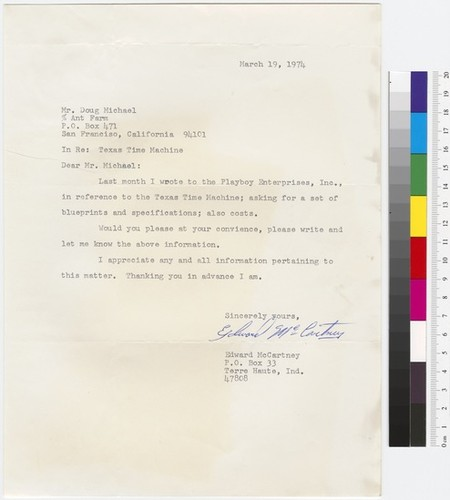 Letter to Doug Michels from Edward McCartney (House of the Century Fan Mail folder)