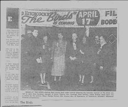 "Newspaper clipping of ""The Birds"" movie opening at the Analy Theatre in Sebastopol April 17, 1963"
