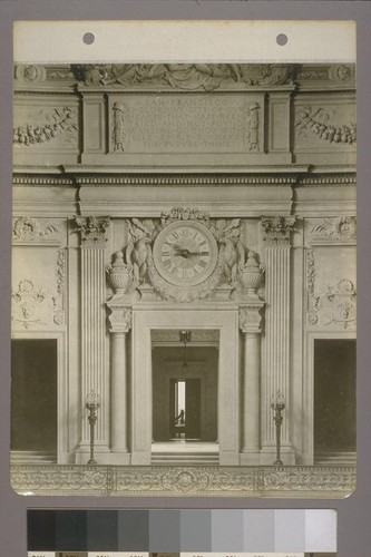 [Rotunda, showing clock and sculptural decoration. Entrance to Mayor's office in distance.]