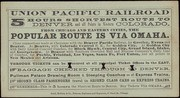 [Union Pacific and Central Pacific Railroads advertisement]