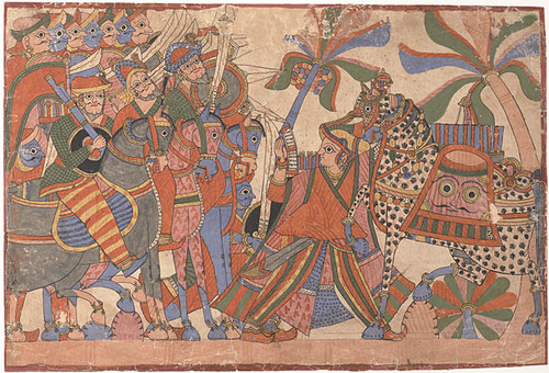 Sita restraining horsemen from doing battle with her sons