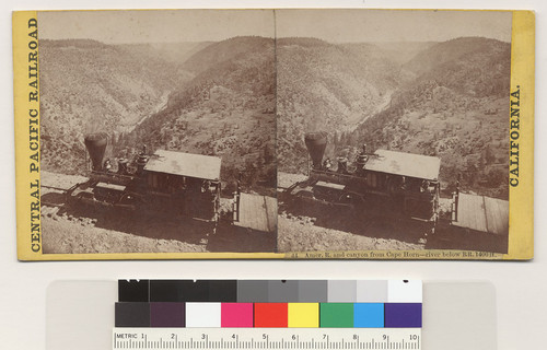 Amer. R. [American River] and canyon from Cape Horn--river below RR. 1400 ft