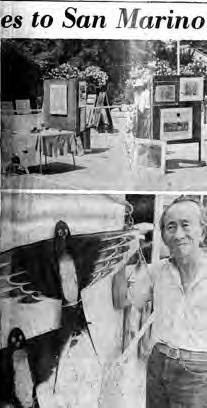 Newspaper article on the Central City Optimist Club's first annual art show at the home of Dr. and Mrs. Hollis Chang. Photo is of Tyrus Wong