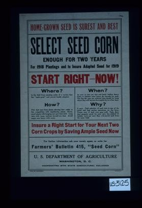 Home-grown seed is surest and best; select seed corn enough for two years; for 1918 plantings and to assure adapted seed for 1919. Start right now! ... Insure a right start for your next two corn crops by saving ample seed now