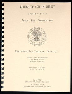 Annual Holy Convocation, COGIC (85th: 1992), religious and training institute guide