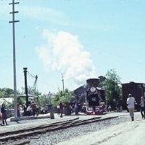 Old Sacramento historic district. View of the dedication for the California State Railroad Museum