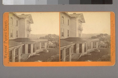 [Side view of home exterior, probably W.C. Ralston's Belmont estate.]