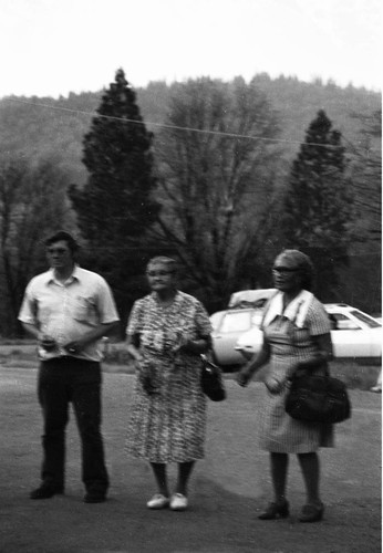 Adrian Smith, Marie Potts, and unidentified woman attending the Greenville Bear Dance--1973
