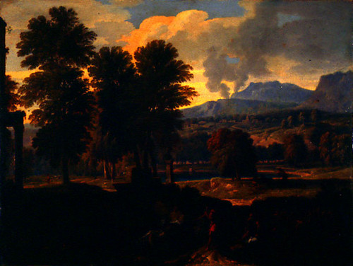 Landscape with Mountains and a plume of smoke