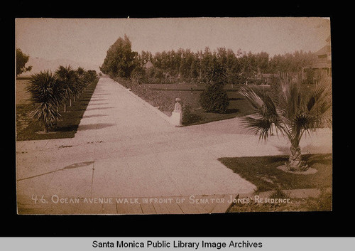Ocean Avenue and the walkway in front of Miramar, home of Senator John P. Jones, Santa Monica, Calif