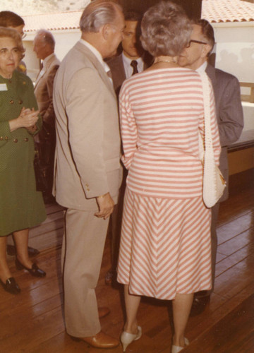 Mrs. Margaret Brock (L), Justice Harry Blackmun (R) (Color)