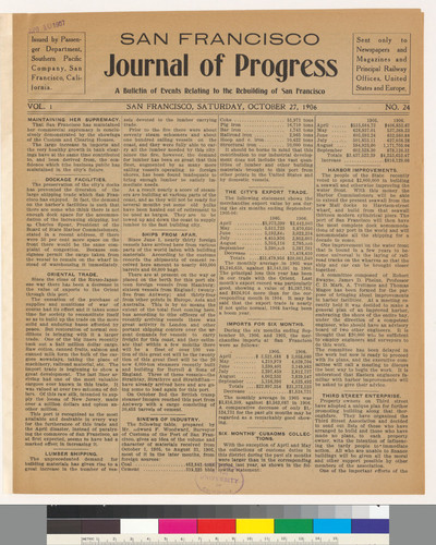 Journal of progress: A Bulletin of Events Relating to the Rebuilding of San Francisco: Vol. 1 No. 24