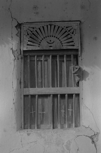 Crosses on a window, San Basilio de Palenque, 1977