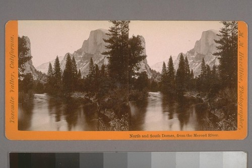 North and South Domes, from the Merced River. Photographer's series: Yosemite Valley, California