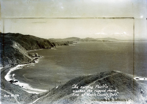 View of the Pacific Ocean along the Marin County shoreline, circa 1942 [postcard negative]