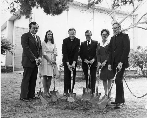 Von der Ahe Library expansion ground breaking ceremony with Donald P. Merrifield, S.J