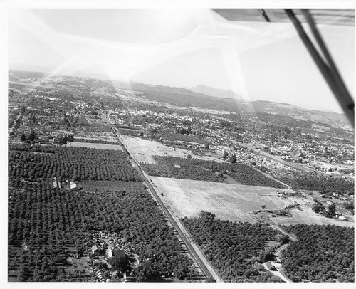 Aerial view of Santa Rosa looking northeast from over the railroad south of town