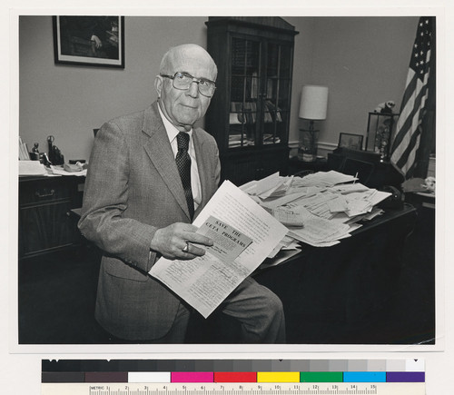 Augustus F. Hawkins with mail opposing Reagan Budget cuts