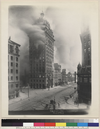 Burning of Call building. Lotte's [i.e. Lotta's] Fountain. [Photograph by W.J. Street.]