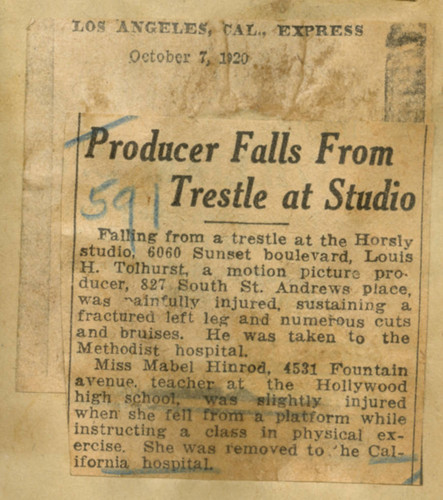Producer falls from trestle at studio
