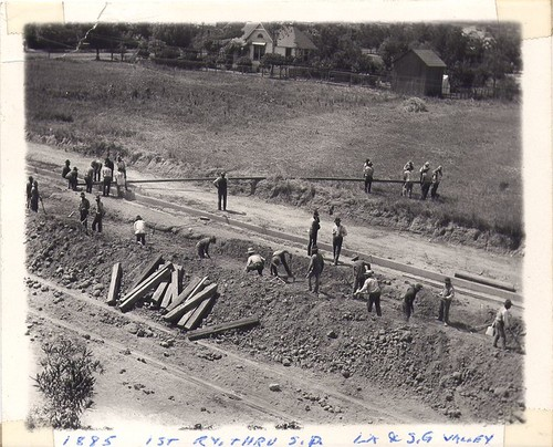 Construction of First Railway through South Pasadena - Los Angeles and San Gabriel Valley
