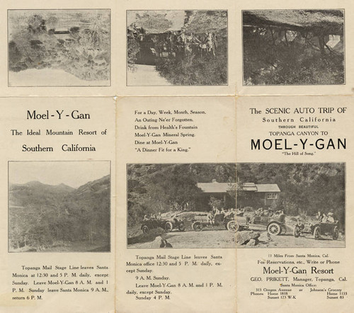 Brochure for a scenic auto trip to Moel-y-gan, Topanga, Calif