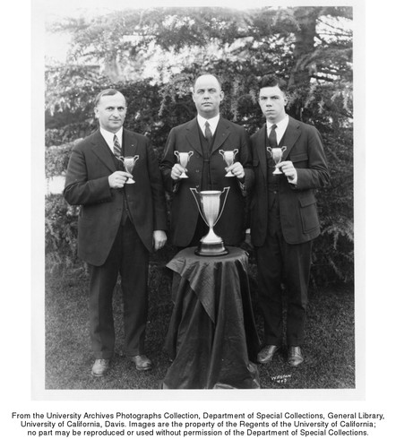 Winners in Judging Dairy Products, California Dairy Industries Association, University Farm. J.V. Canham, W.D. Bailey, G.H. Brewer (left to right)