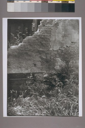 Brick and adobe wall. Bear Valley. 1936