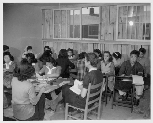 The 11th grade class in American History in the temporary High School. Mrs. B.D. Ramsdell. Photographer: Parker, Tom McGehee, Arkansas