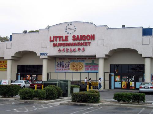 Calisphere little saigon supermarket on the corner of Library garden grove