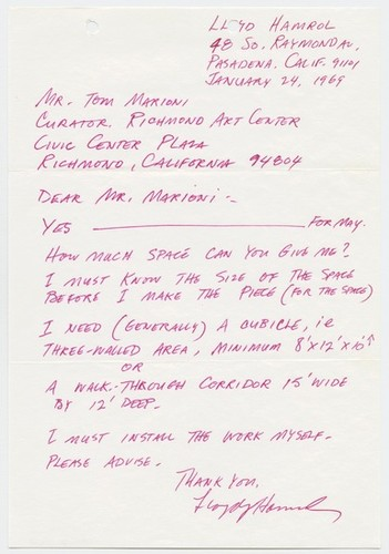 Letter to Tom Marioni from Lloyd Hamrol (Invisible Painting and Sculpture)
