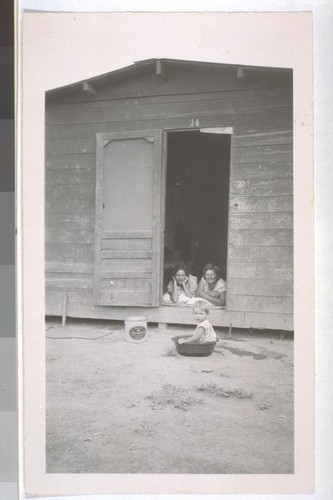 July, 1936, Kern County, Kern Lake District. Banducci Ranch. A laborer cabin, showing the women folks at home