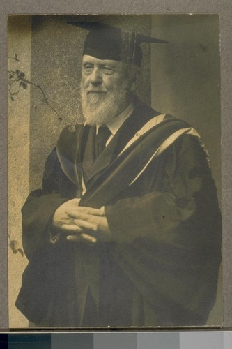 [Bernard R. Maybeck in academic gown,] Charter Day
