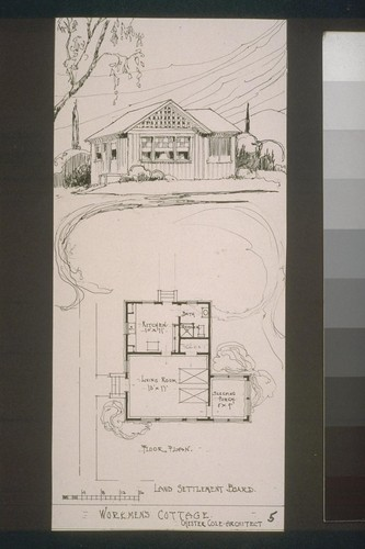Land Settlement Board - floor plan, Workmen's Cottage, Chester Cole, architect