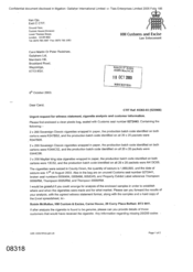 [Letter from Ken Ojo to Carol Martin or Peter Redshaw regarding urgent request for witness statement, cigarette analysis and customer information]