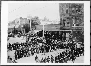 Military unit marching in San Diego's July Fourth parade on Fifth Street, July 4, 1903